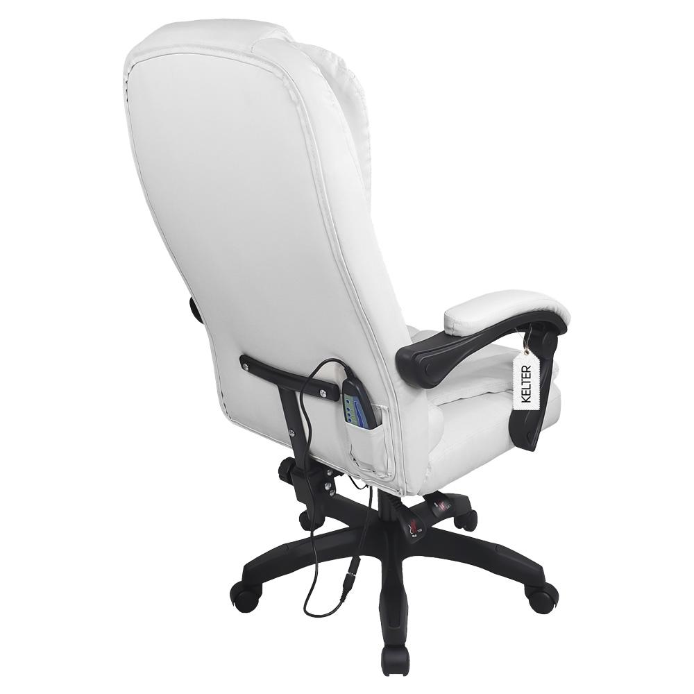 Cadeira Escritório Presidente Com Massageador e Aquecimento Kelter Branco V405