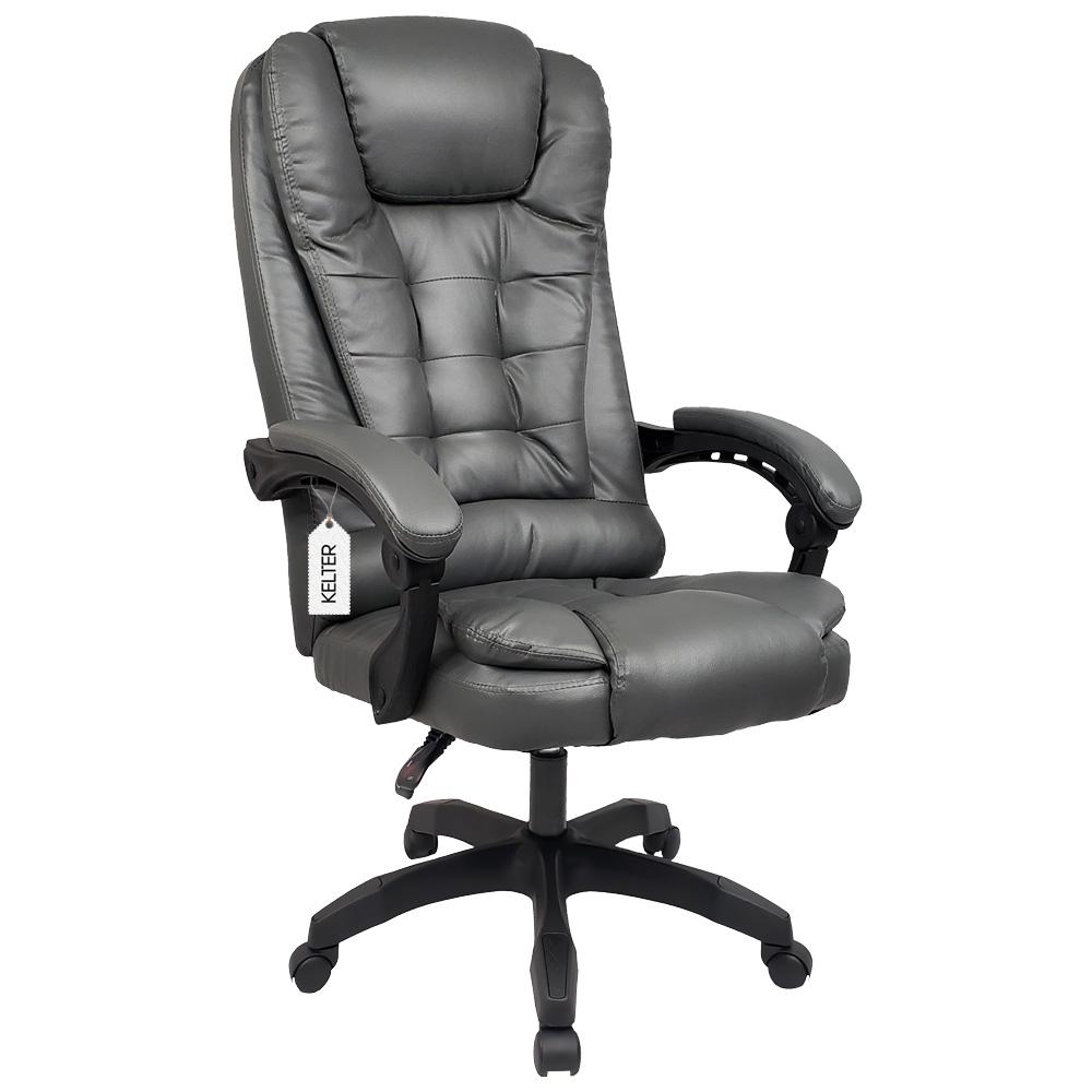 Cadeira Escritório Presidente Com Massageador e Aquecimento Kelter Cinza V404