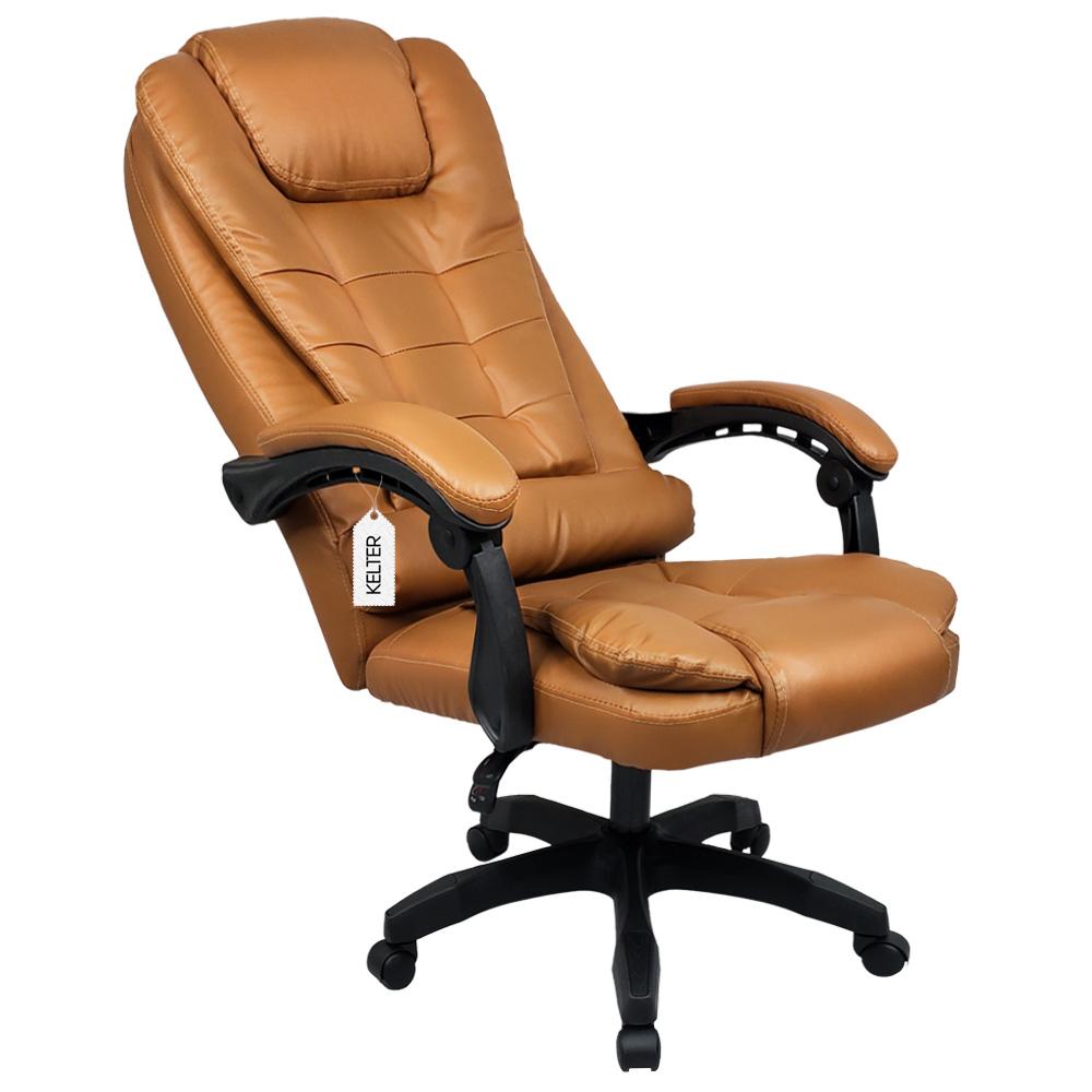 Cadeira Escritório Presidente Com Massageador e Aquecimento Kelter Marrom V403