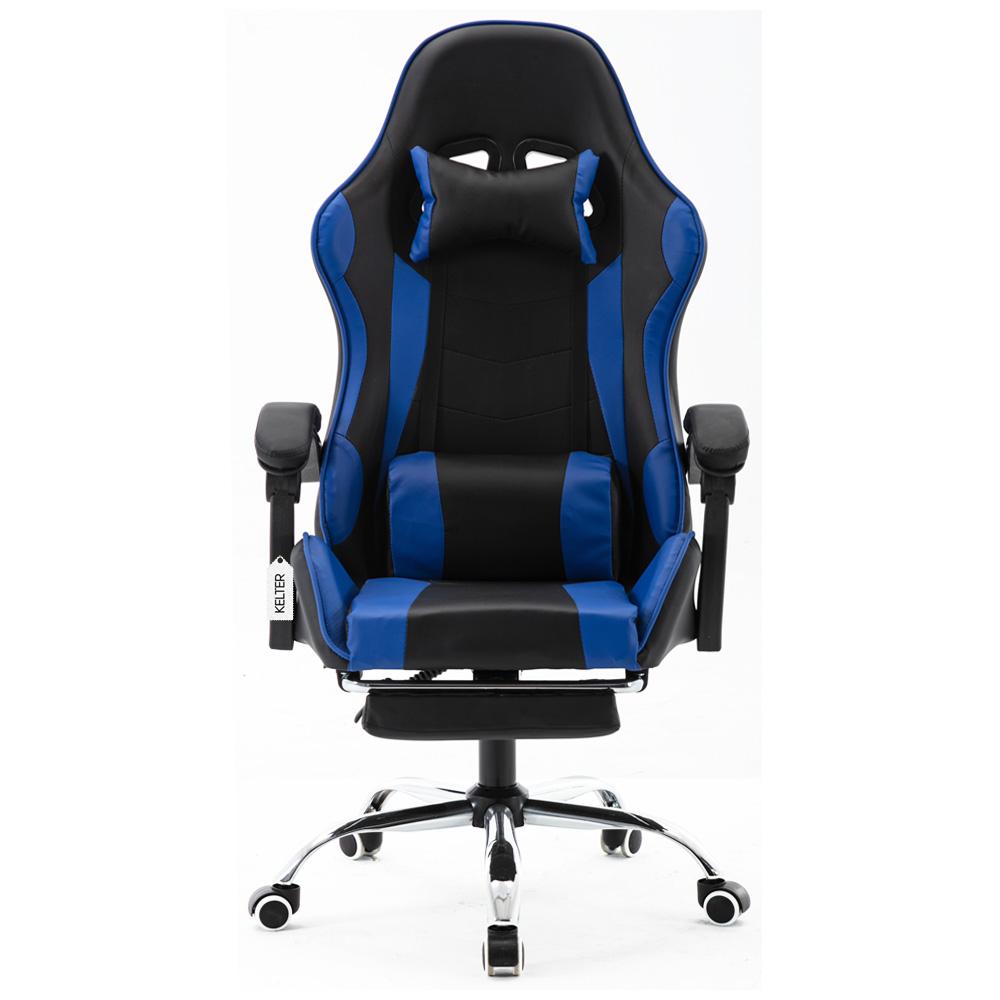 Cadeira Gamer Giratória Com Apoio de Pé Kelter Azul V7005p