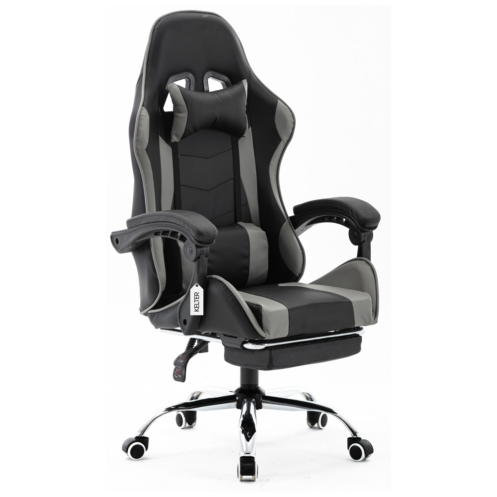 Cadeira Gamer Giratória Com Apoio de Pé Kelter Cinza V7002p