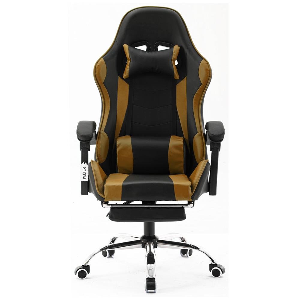 Cadeira Gamer Giratória Com Apoio de Pé Kelter Dourada V7008p