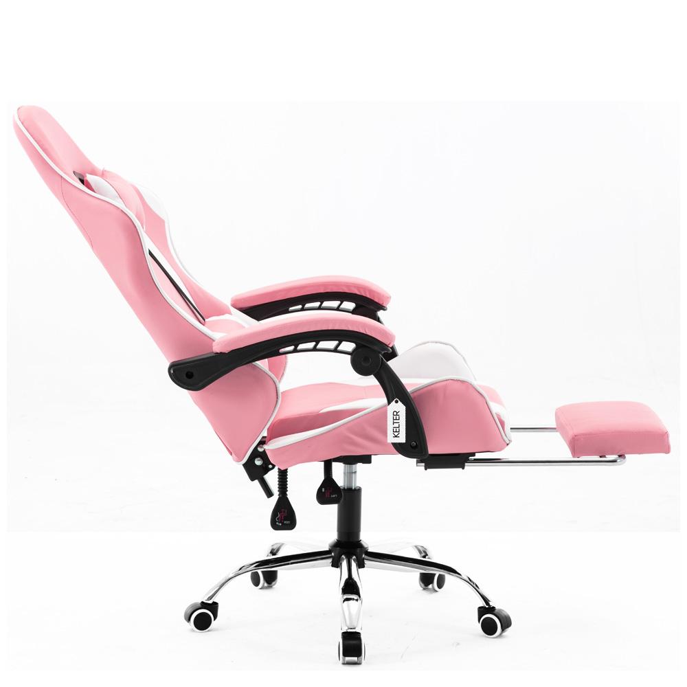 Cadeira Gamer Giratória Com Apoio de Pé Kelter Rosa e Branca V7010p