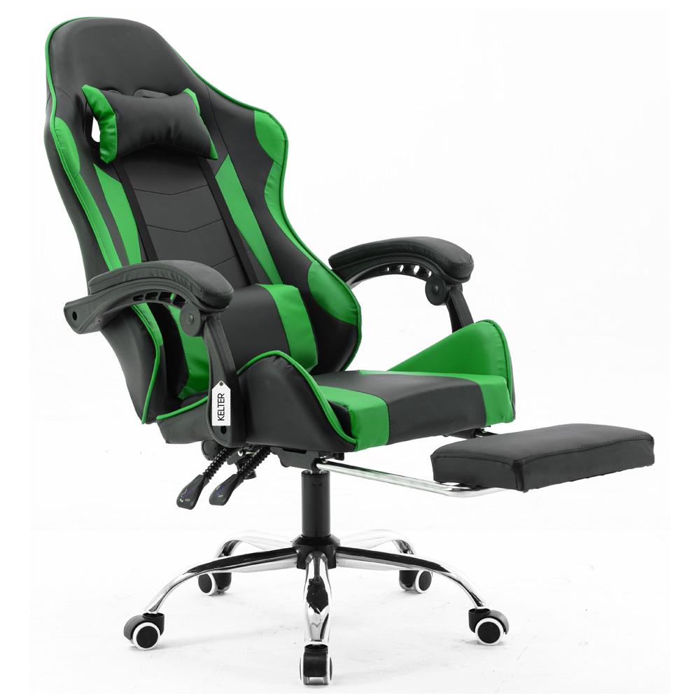 Cadeira Gamer Giratória Com Apoio de Pé Kelter Verde V7004p