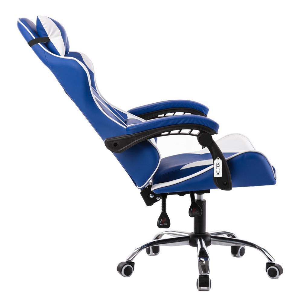 Cadeira Gamer Giratória Kelter Azul e Branca V706