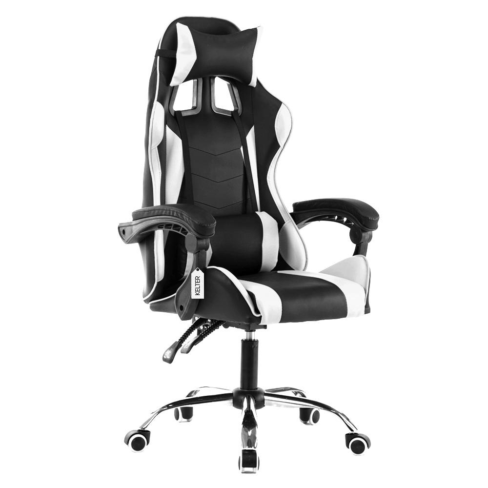 Cadeira Gamer Giratória Kelter Branca e Preta V707