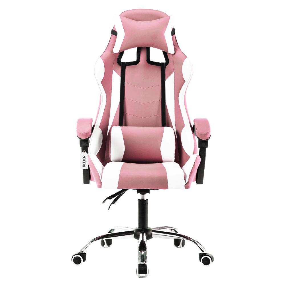Cadeira Gamer Giratória Kelter Rosa e Branca V710