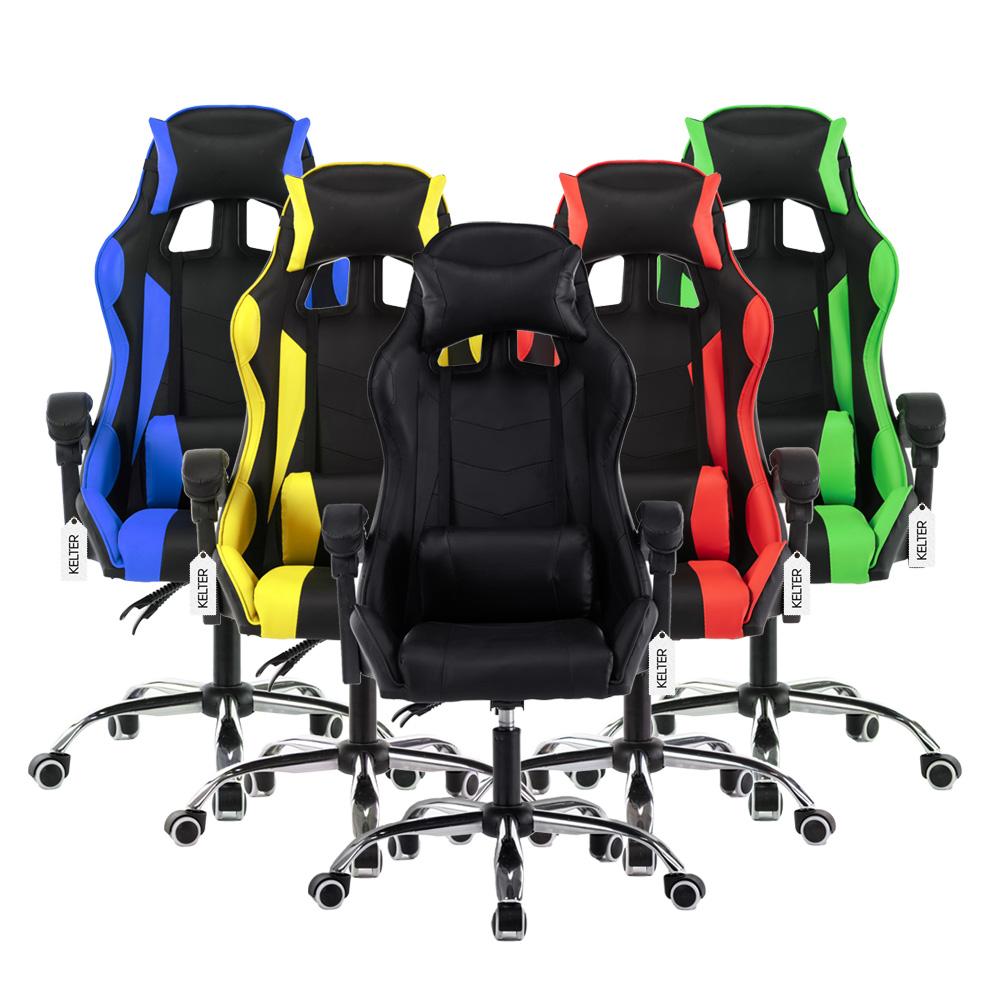 Cadeira gamer reclinável em 120º com ajuste lombar