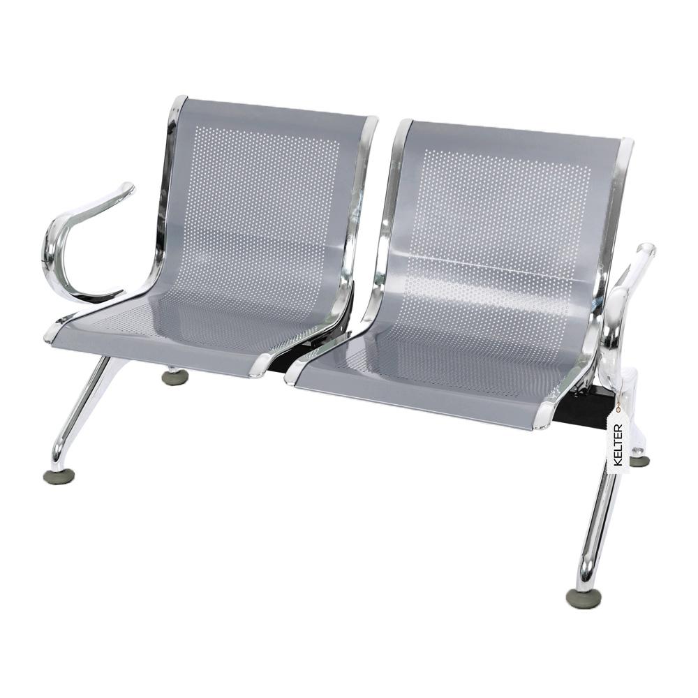 Cadeira Longarina 2 Lugares Assentos Espera Aeroporto Cinza V902