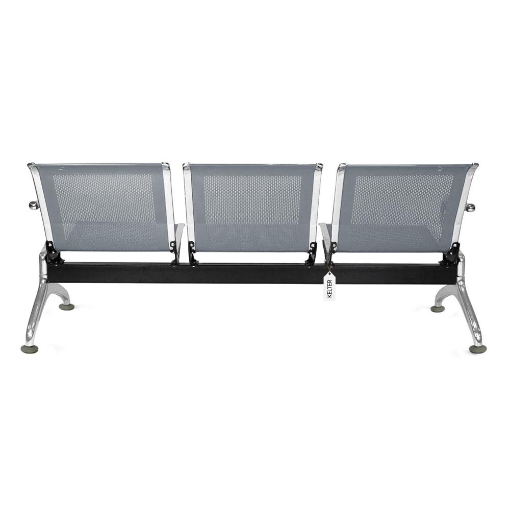 Cadeira Longarina 3 Lugares Assentos Espera Aeroporto Cinza V903