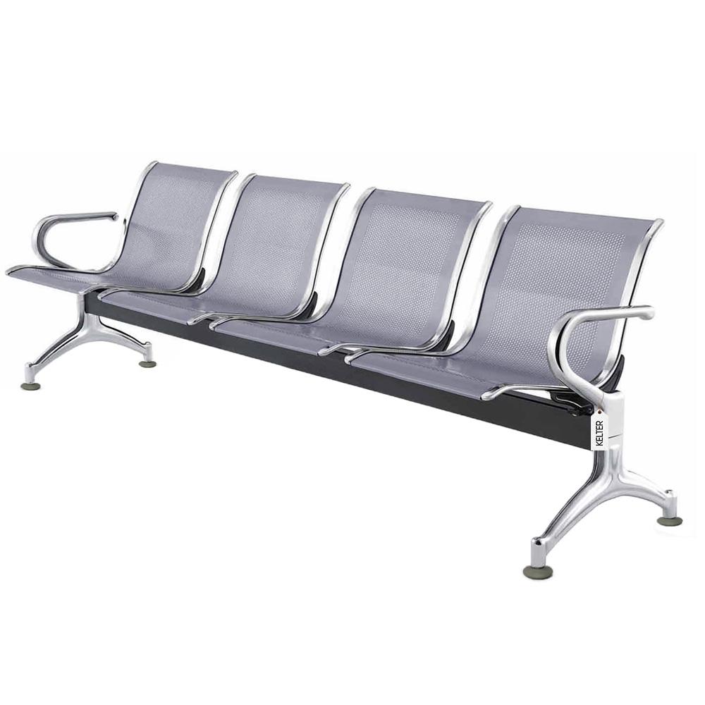 Cadeira Longarina 4 Lugares Assentos Espera Aeroporto Cinza V904
