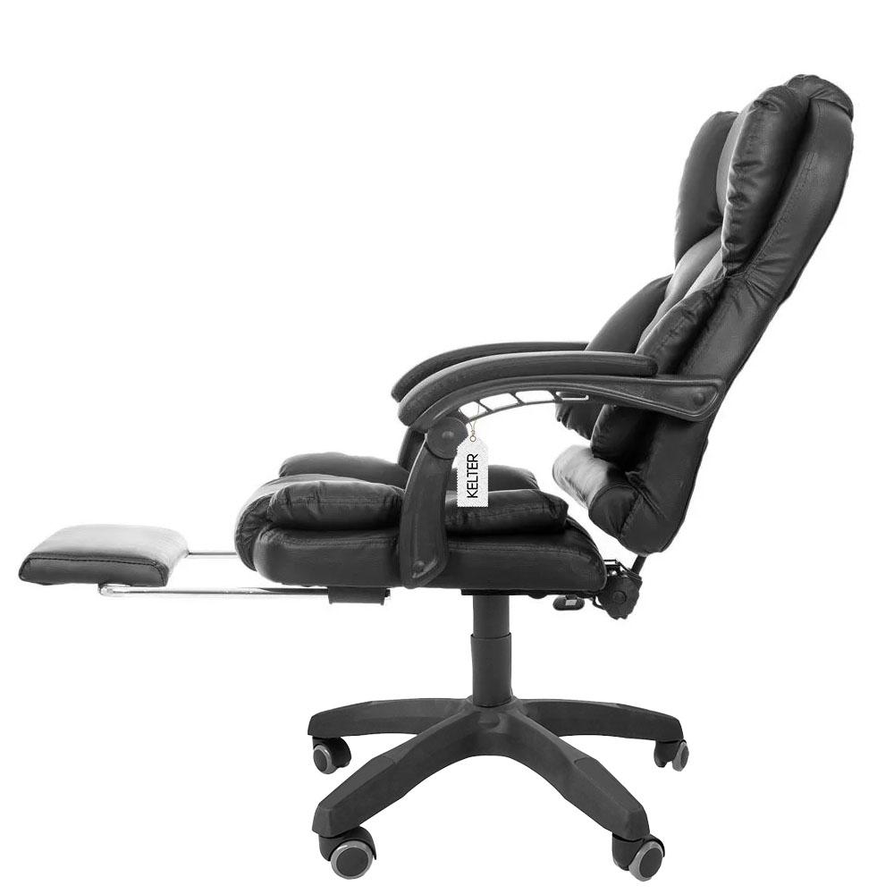 Cadeira Escritório Presidente Com Descanso De Pés Kelter F10 Preta