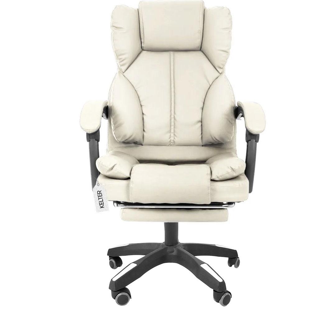 Cadeira Para Escritório Presidente Descanso Dos Pés Kelter F13 Bege