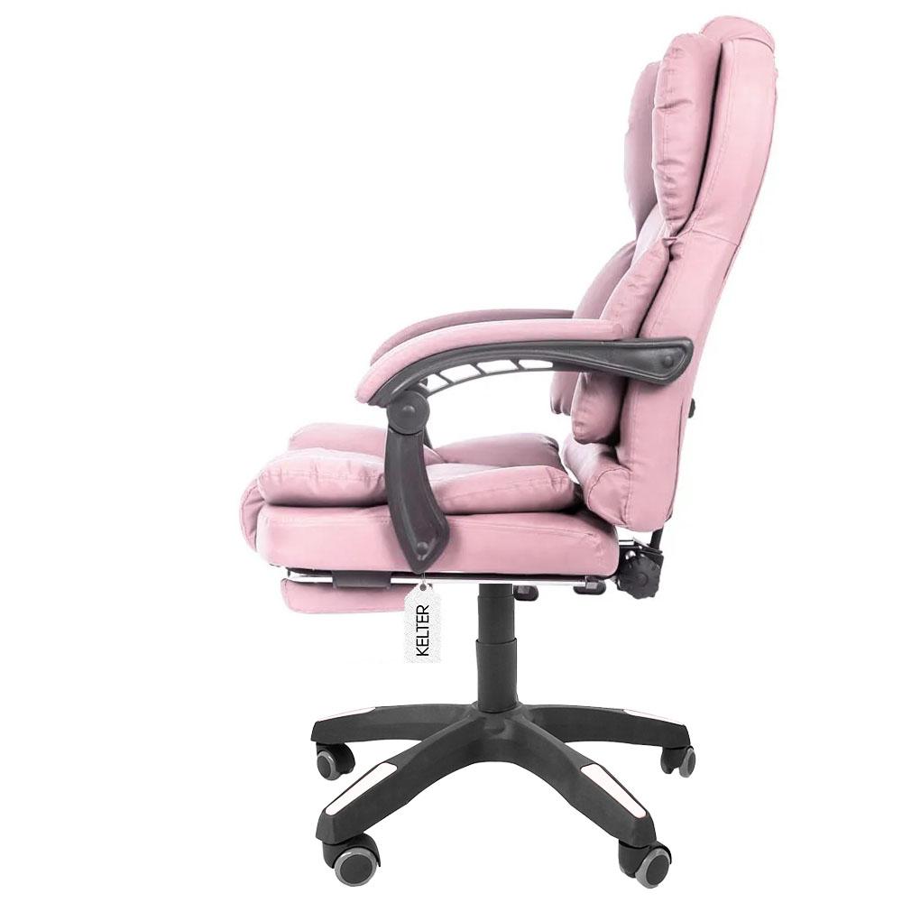 Cadeira De Escritório Presidente Com Apoio Aos Pés Kelter F14 Rosa
