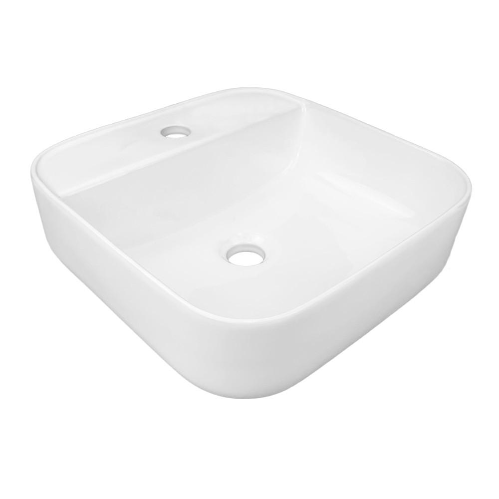 Cuba de banheiro porcelana quadrada apoio sobrepor kelter CB03
