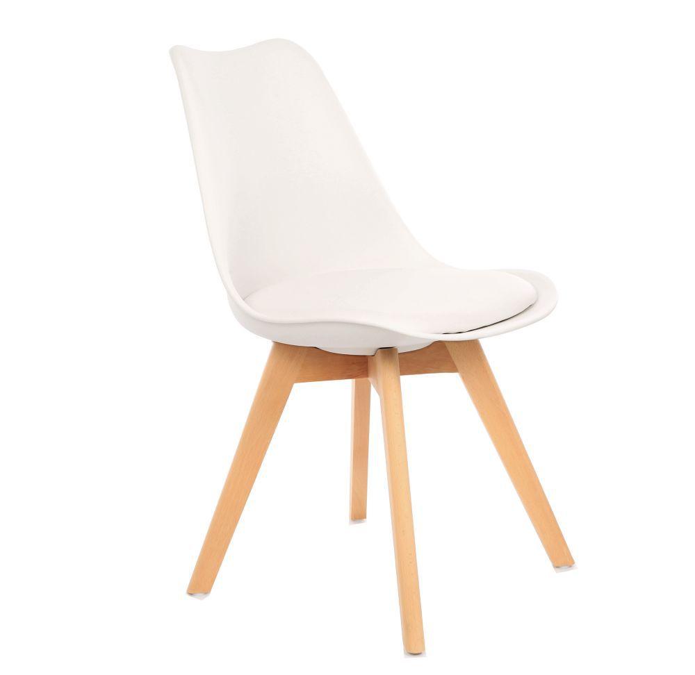 Kit 2 Cadeira Eames Leda Eiffel Estofada Base Madeira Kelter Branca - K-C251