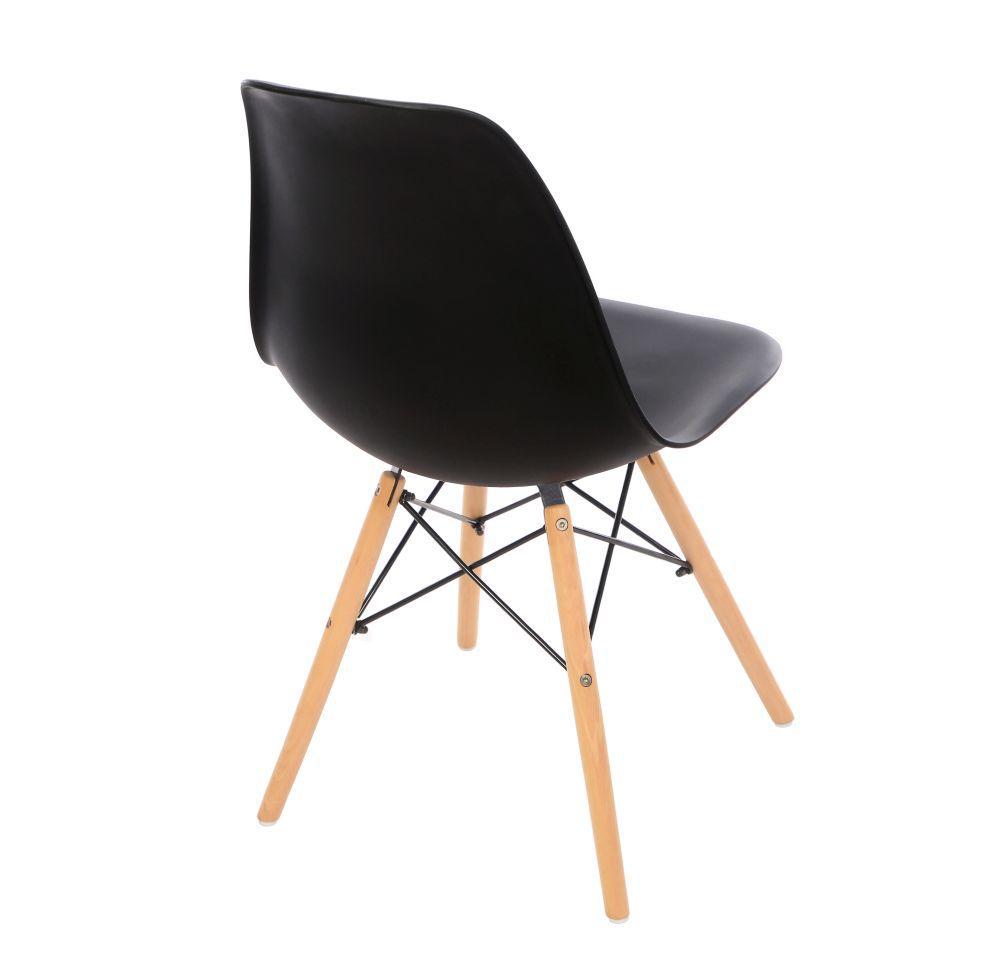 Kit 2 Cadeira Eiffel Sala Jantar Cozinha Escritório Eames Kelter Preta K-C202