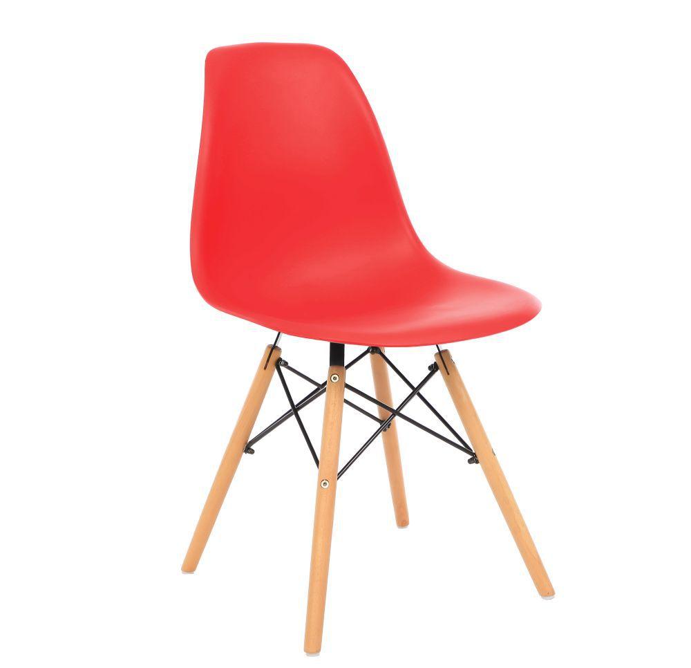Kit 2 Cadeira Eiffel Sala Jantar Cozinha Escritório Eames Kelter Vermelha K-C206