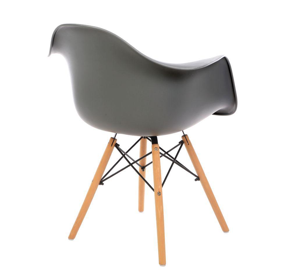 Kit 2 Cadeiras DKR DAW Eames Com Braços Eiffel Wood Kelter Cinza Escuro K-C238