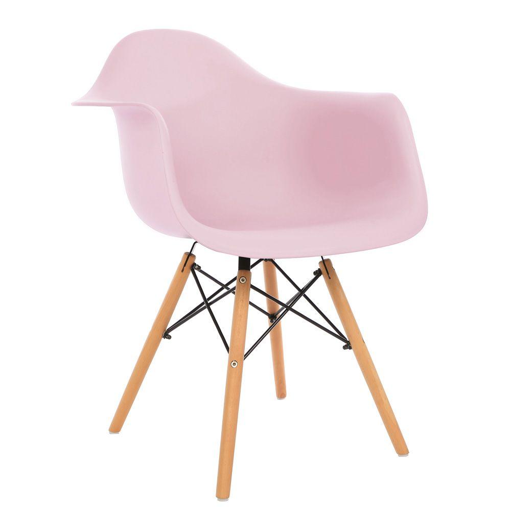 Kit 2 Cadeiras DKR DAW Eames Com Braços Eiffel Wood Kelter Rosa K-C235
