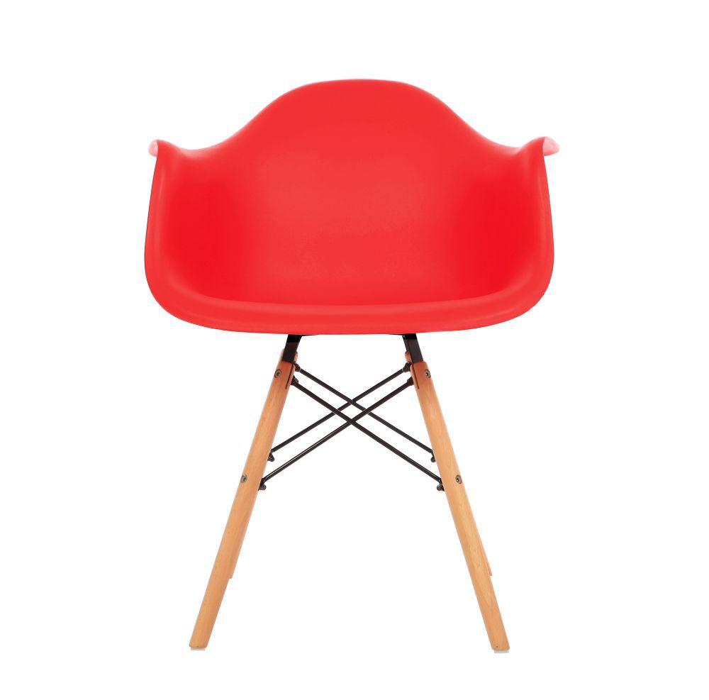 Kit 2 Cadeiras DKR DAW Eames Com Braços Eiffel Wood Kelter Vermelha K-C236