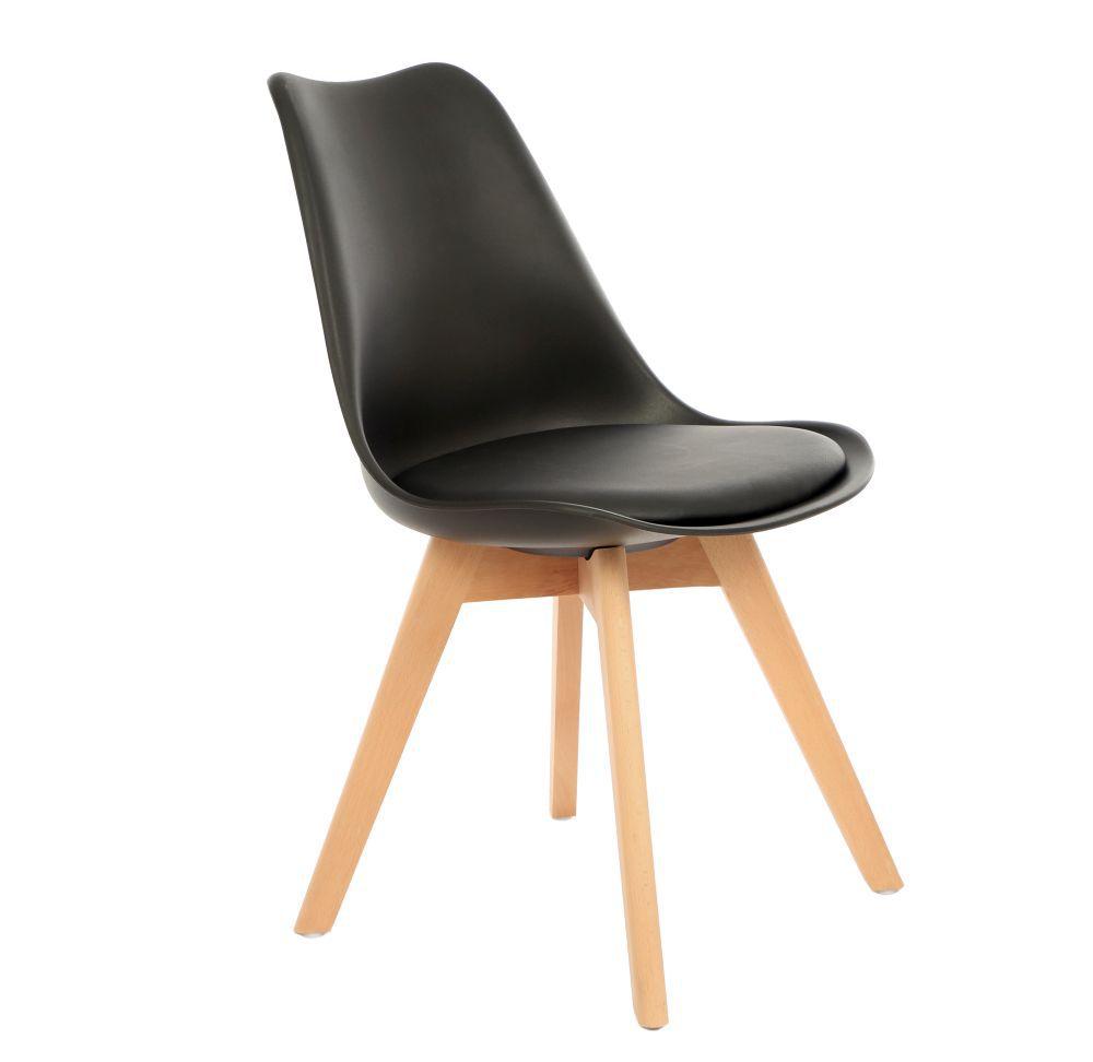 Kit 3 Cadeira Eames Leda Eiffel Estofada Base Madeira Kelter Preta - K-C252