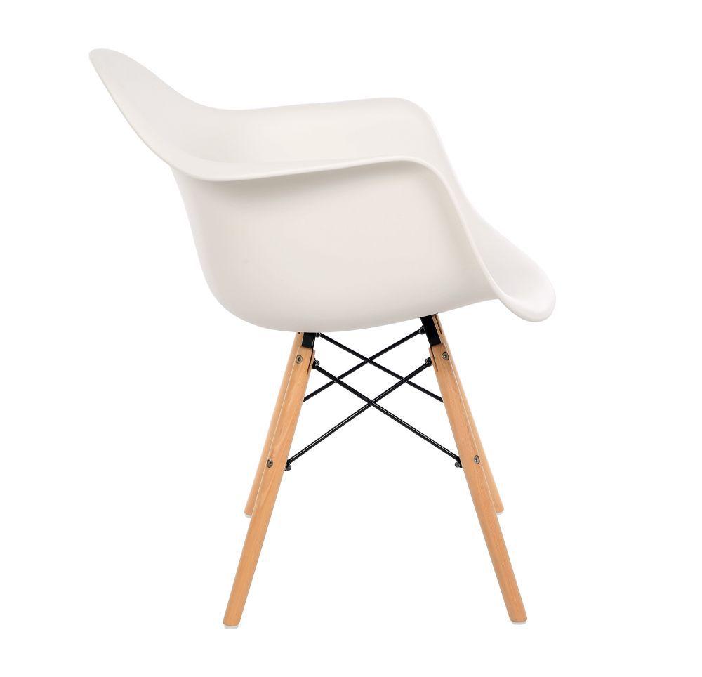 Kit 3 Cadeiras DKR DAW Eames Com Braços Eiffel Wood Kelter Branca K-C231