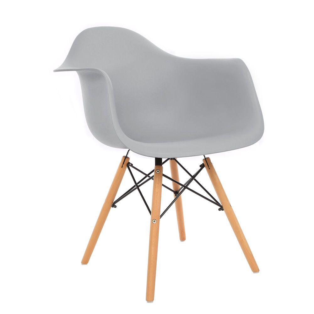 Kit 3 Cadeiras DKR DAW Eames Com Braços Eiffel Wood Kelter Cinza Claro K-C237