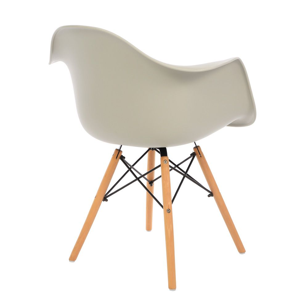 Kit 3 Cadeiras DKR DAW Eames Com Braços Eiffel Wood Kelter Nude K-C239