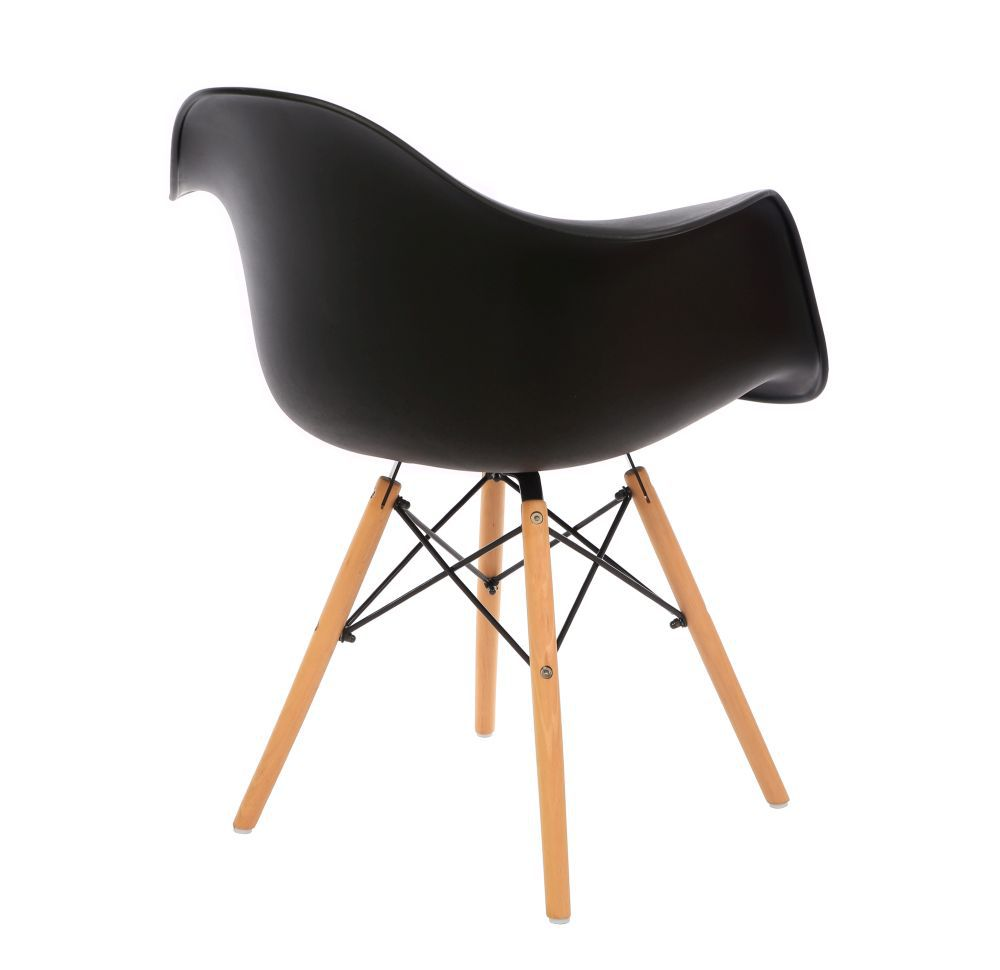 Kit 3 Cadeiras DKR DAW Eames Com Braços Eiffel Wood Kelter Preta K-C232
