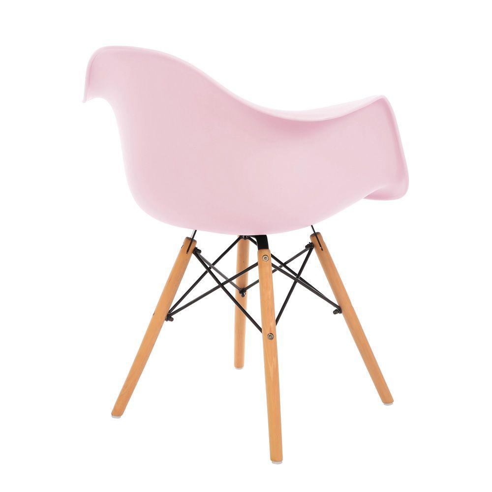 Kit 3 Cadeiras DKR DAW Eames Com Braços Eiffel Wood Kelter Rosa K-C235