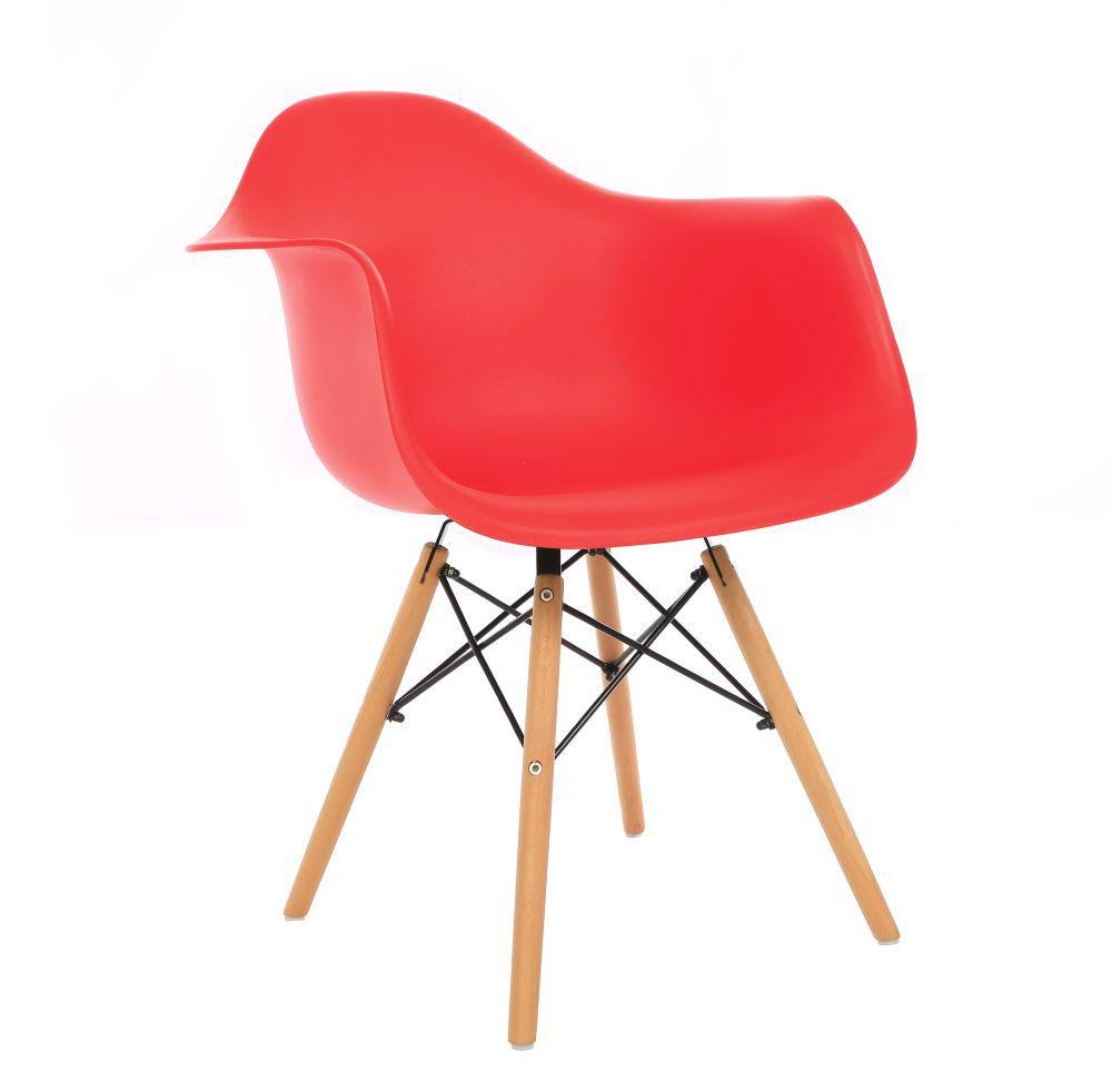 Kit 3 Cadeiras DKR DAW Eames Com Braços Eiffel Wood Kelter Vermelha K-C236