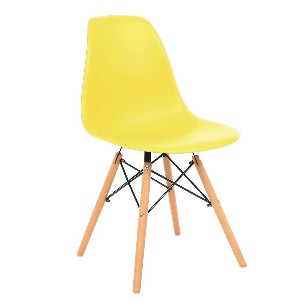 Kit 4 Cadeira Eiffel Sala Jantar Cozinha Escritório Eames Kelter Amarelo K-C211