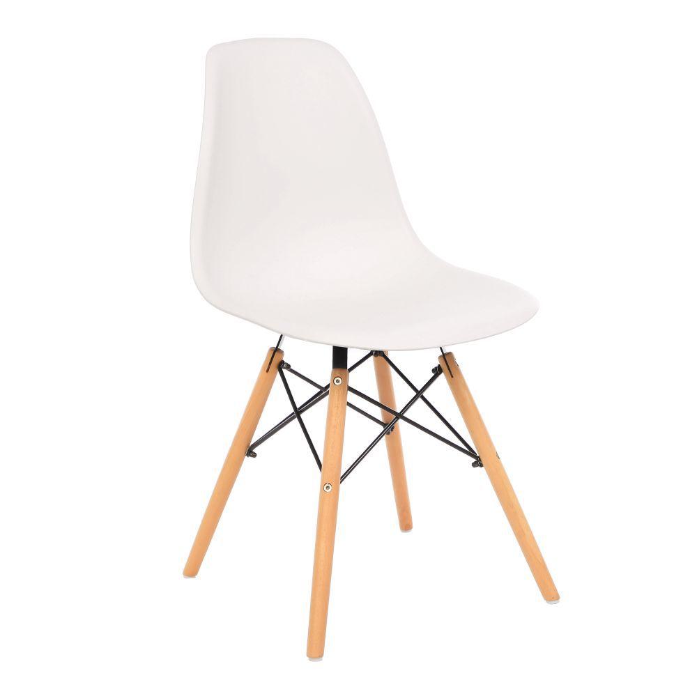 Kit 4 Cadeira Eiffel Sala Jantar Cozinha Escritório Eames Kelter Branca K-C201