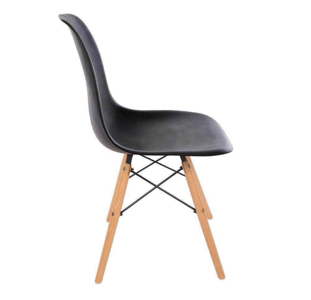 Kit 4 Cadeira Eiffel Sala Jantar Cozinha Escritório Eames Kelter Preta K-C202