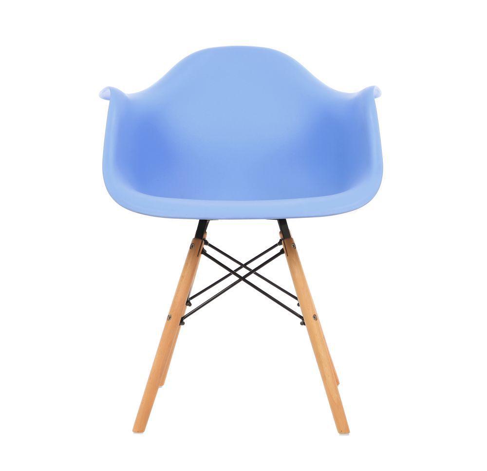 Kit 4 Cadeiras DKR DAW Eames Com Braços Eiffel Wood Kelter Azul K-C233