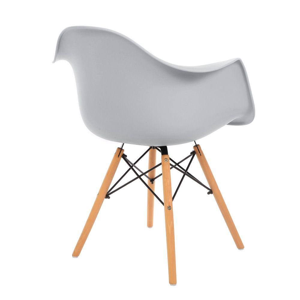 Kit 4 Cadeiras DKR DAW Eames Com Braços Eiffel Wood Kelter Cinza Claro K-C237