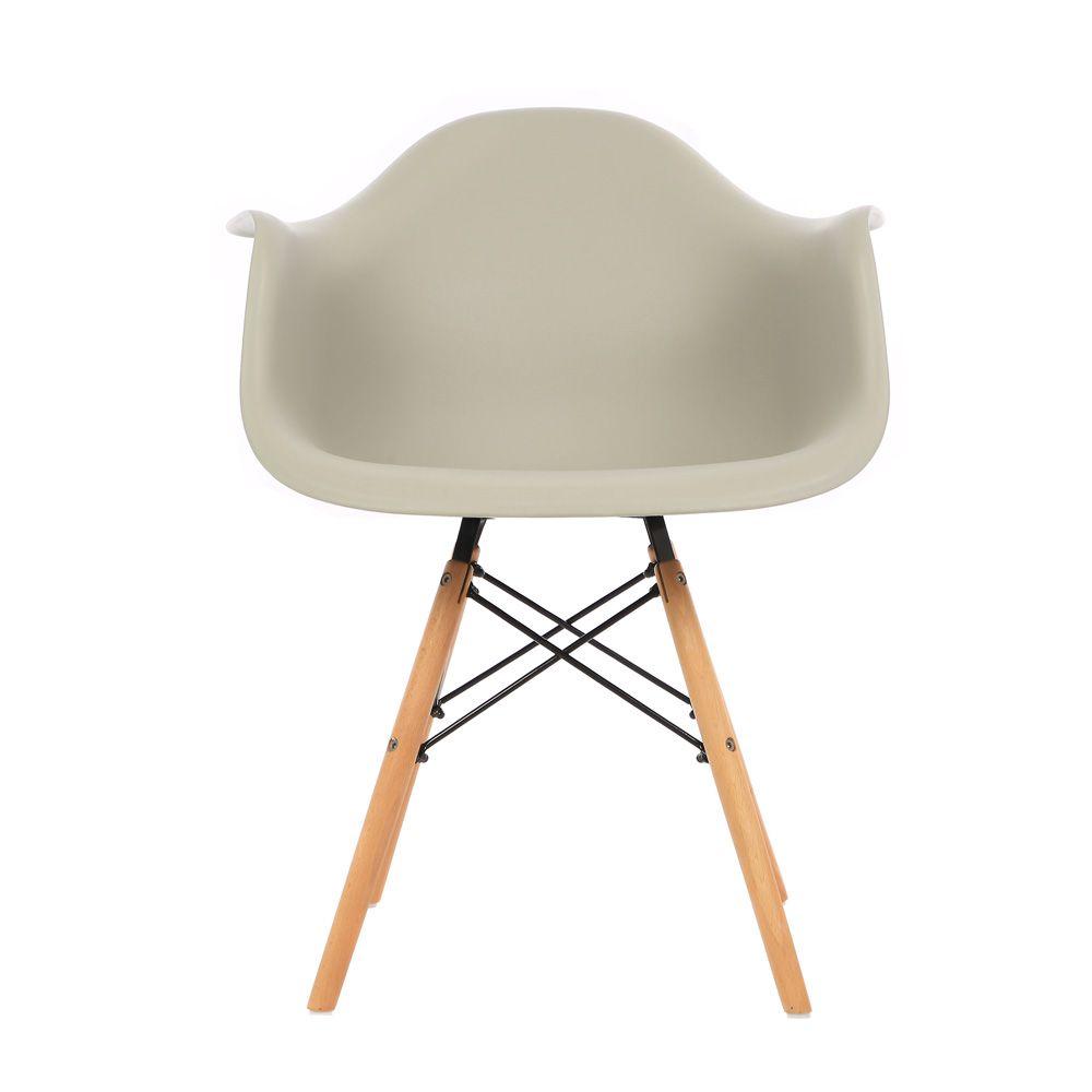 Kit 4 Cadeiras DKR DAW Eames Com Braços Eiffel Wood Kelter Nude K-C239