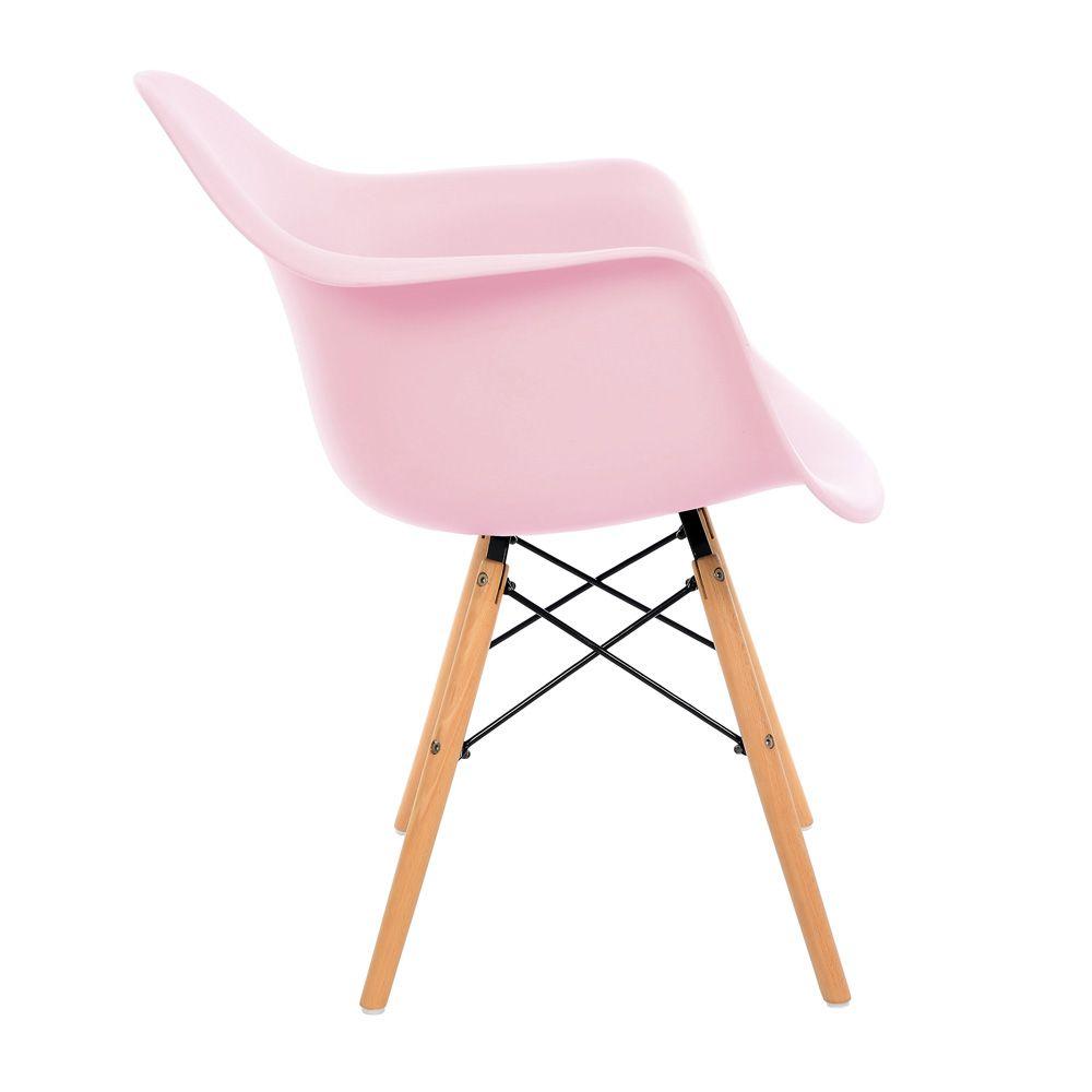 Kit 4 Cadeiras DKR DAW Eames Com Braços Eiffel Wood Kelter Rosa K-C235