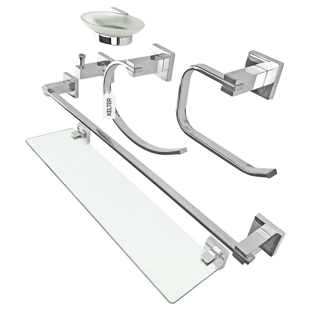 Kit de acessórios para banheiro 6 peças toalheiro saboneteira Kelter KMB6C