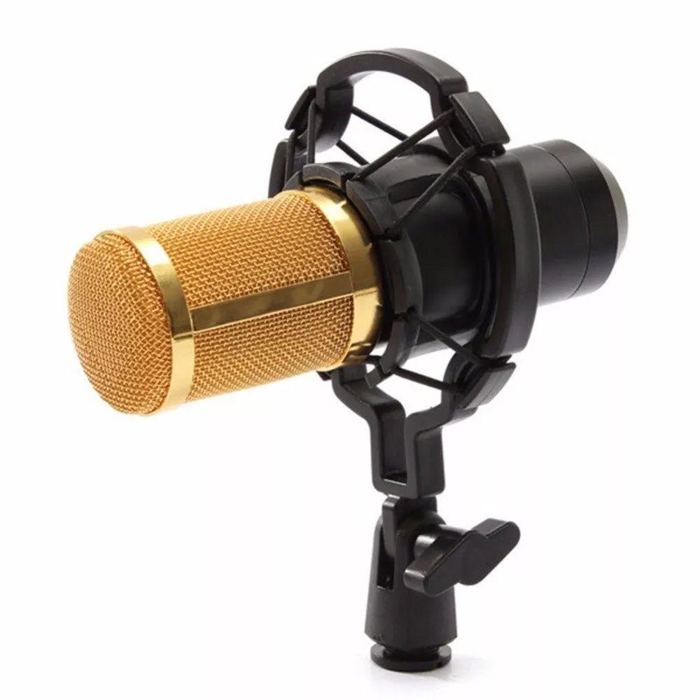 Kit Microfone Estúdio Bm800 Dourado Condensador Suporte Articulado Pedestal Kelter