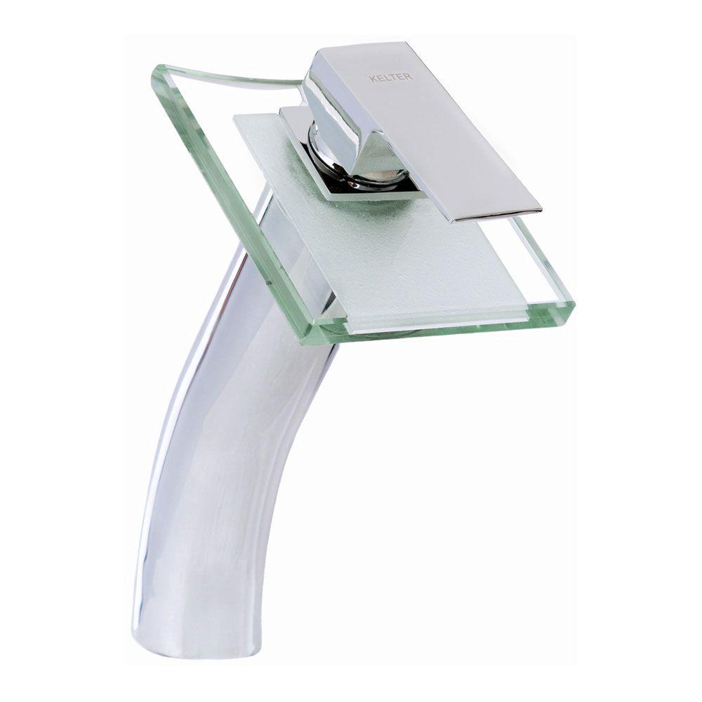 Torneira Cascata De Vidro Quadrada Para Banheiro Kelter KT206
