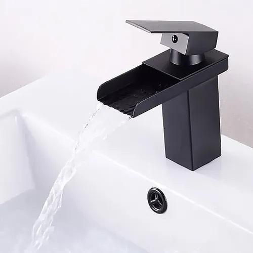 Torneira Cascata Calha Banheiro Monocomando Baixa Kelter KT21 Preta