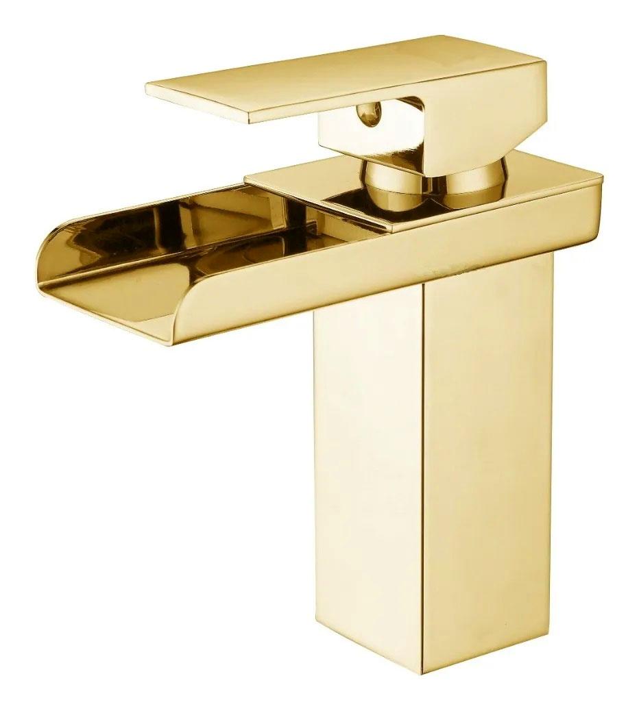Torneira Cascata Calha Banheiro Monocomando Baixa Kelter KT20 Dourada