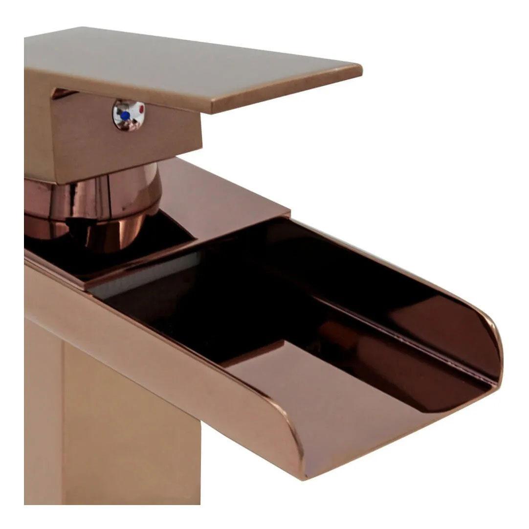 Torneira Cascata Calha Banheiro Monocomando Baixa Kelter KT23 Rose Gold