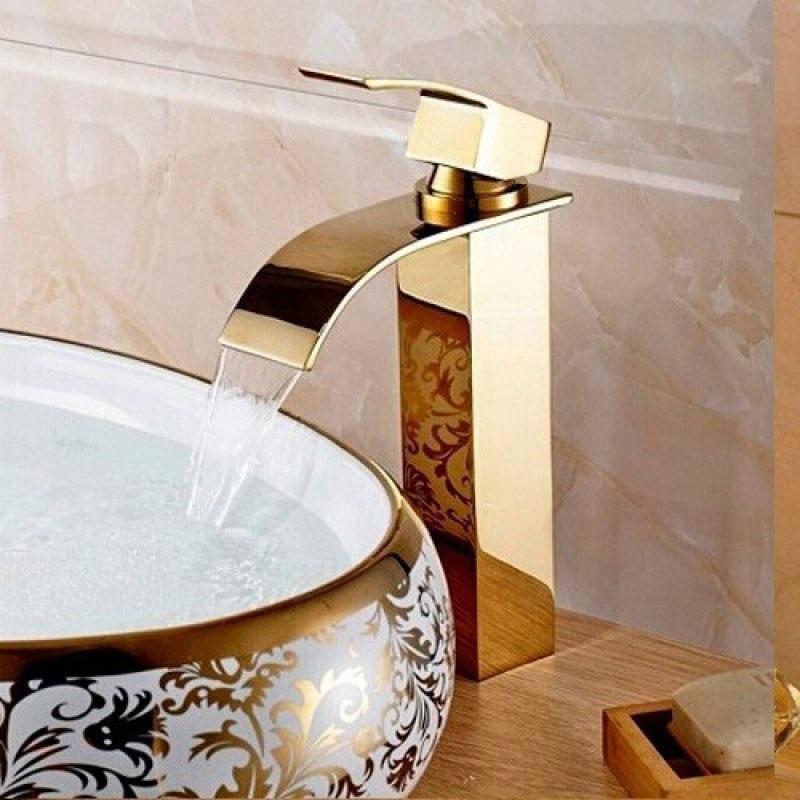 Torneira Cascata Monocomando Banheiro Alta Kelter KT37 Dourada