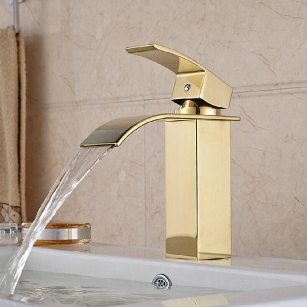 Torneira cascata metal monocomando banheiro Kelter KTB1D Dourada
