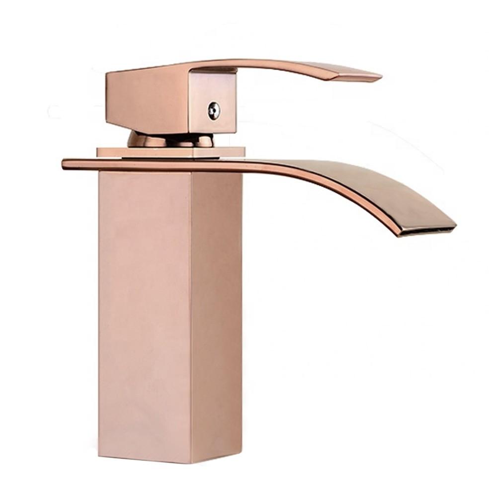 Torneira cascata metal monocomando banheiro Kelter KTB1R Rose