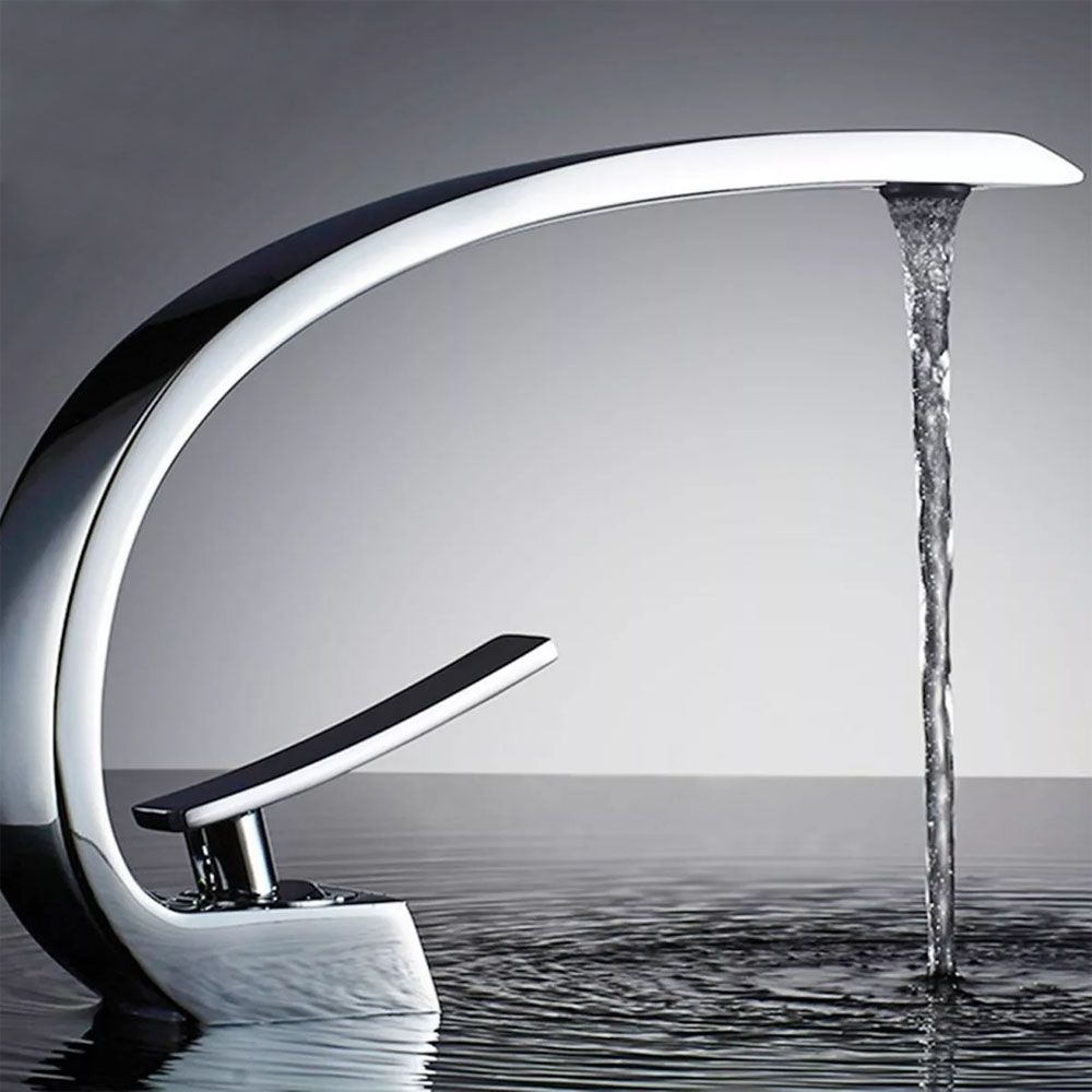 Torneira Curvada Misturador Banheiro Lavabo Luxo Kelter K-T202