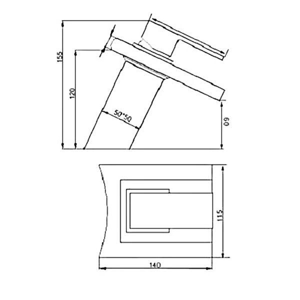 Torneira Cascata De Vidro Quadrada Para Banheiro Kelter KT205